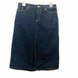 Gap Jeans A Line Denim Skirt Blue Zipper